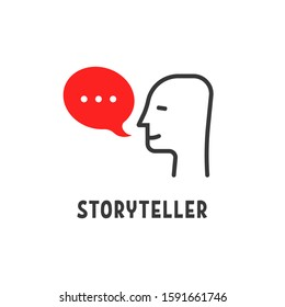 minimal storyteller logo with human head. flat style trend modern storytelling logotype graphic design isolated on white background. concept of telling fascinating stories or narrative or declarative