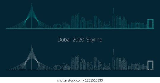 A minimal style of Dubai skyline concept in the year 2020