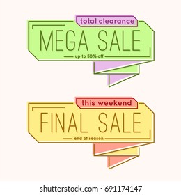 Minimal style flat trendy bubble shaped banner, price tag, sticker, badge. Vector illustration.