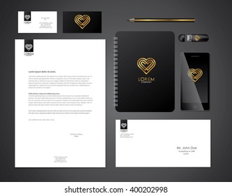 Minimal style heart corporate identity template. Vector illustration.