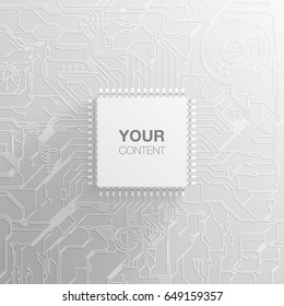 Minimal style micro chip with printed circuit board, ideal for tech business