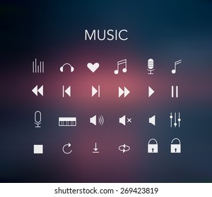 Minimal style music icons set with colorful  blur unfocused style background.blurred wallpaper design.