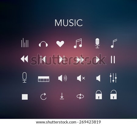 Minimal Style Music Icons Set Colorful Stock Vector Royalty Free