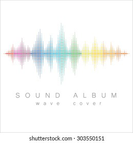 Minimal style rainbow colored sound wave with album cover text. Isolated on white background.