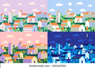 Minimal style town. Geometric minimalist city, daytime cityscape and night townscape. Geometrical residential houses, town building or house district. Flat vector illustration set