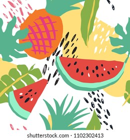 Minimal summer trendy vector tile seamless pattern in scandinavian style. Watermelon, pineapple, palm leafs, abstract elements. Textile fabric swimwear graphic design for pring.