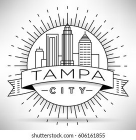 Minimal Tampa Linear City Skyline with Typographic Design