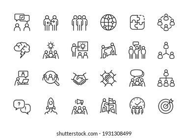 Minimal Teamwork in business management icon set - Editable stroke, Pixel perfect at 64x64