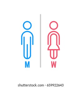 minimal thin line blue and pink wc icon. simple flat stroke style modern graphic art design isolated on white background. concept of funny logotype on enter door or pictogram for hotel or airport