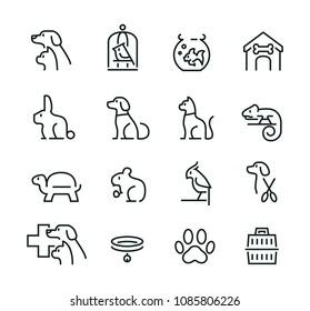 Minimal thin line pet icon set