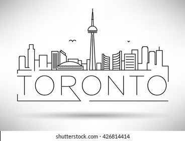 Minimal Toronto City Linear Skyline with Typographic Design