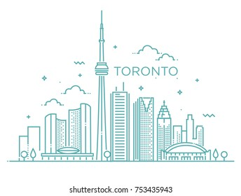 Minimal Toronto City Linear Skyline. Thin style