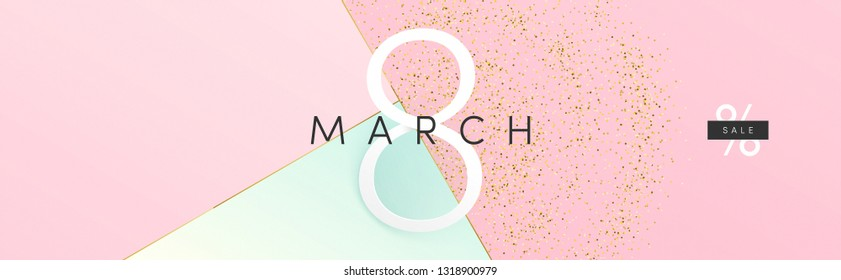 Minimal trendy style wide cover for 8 of March International Women's Day. Vector art for ad, banner, web, social media, poster, fashion, sale, offer, discount, print, market.