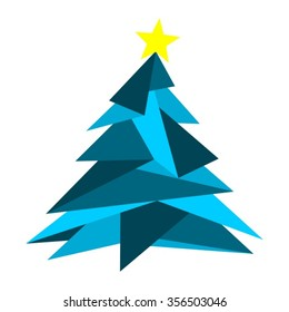 Minimal Triangle Christmas Tree in Blue with Yellow Star