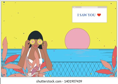 Minimal tropical art illustration of woman with flowers in her both hand cover her eyes, clean line art style, retro - vintage nostalgic background template