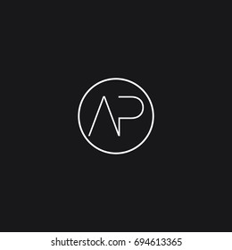 Minimal unique connected circular shaped artistic black and white color AP PA A P initial based letter icon logo.