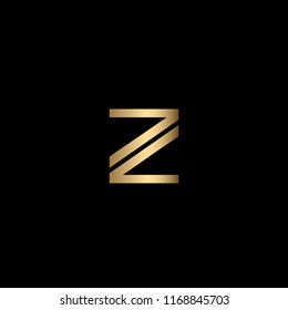 Minimal Unique and Creative Black and Golden Color Z Letters Logo Design