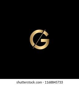 Minimal Unique and Creative Black and Golden Color CG Letters Logo Design