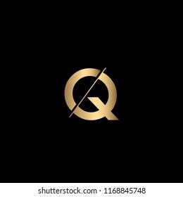 Minimal Unique and Creative Black and Golden Color CQ Letters Logo Design