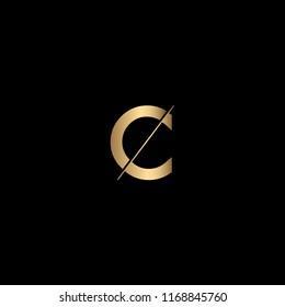 Minimal Unique and Creative Black and Golden Color OC Letters Logo Design