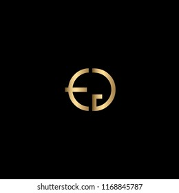 Minimal Unique and Creative Black and Golden Color EG Letters Logo Design