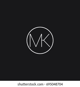 Minimal unique creative connected circular shaped artistic black and white color MK KM M K initial based letter icon logo.