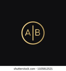 Minimal unique elegant AB BA A B circular shaped business brand black and golden color initial based letter icon logo.