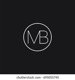 Minimal unique elegant clean connected circular shaped fashion brands black and white color MB BM M B initial based letter icon logo.