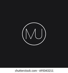 Minimal unique elegant connected circular shaped fashion brands black and white color MU UM M U initial based letter icon logo.