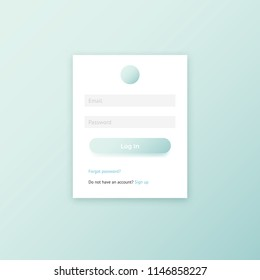 Minimal user log in page window vector UI template. Mint green clean flat design member login form for web and mobile apps.