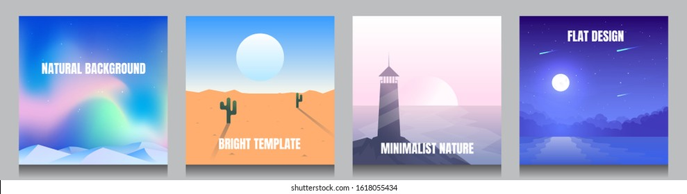 Minimal vector backgrounds set of 4 landscapes. Social media, blog post templates. Aurora borealis, desert, lighthouse on the rock, moonlight reflection in the water. Dynamic futuristic square posters