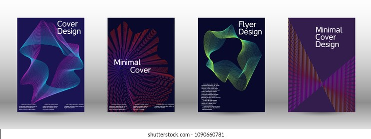 Minimal vector cover design with abstract gradient linear waves. Sound flyer for creating a fashionable abstract cover, banner, poster, booklet.
