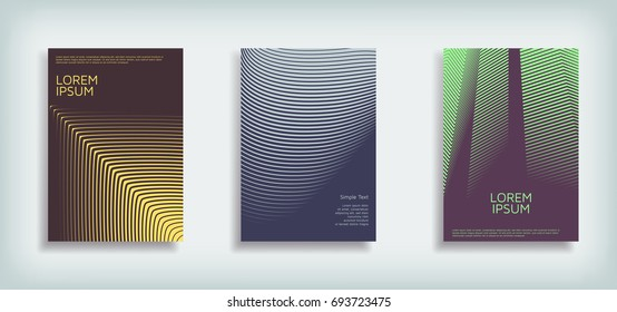 Minimal Vector Cover design set with abstract lines. Modern halftone gradients. Concept Poster template.