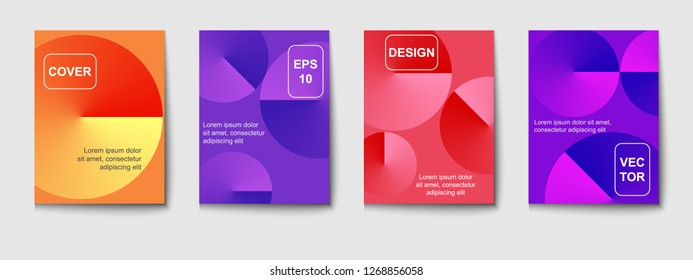 Minimal vector covers design. Round gradient shapes composition.