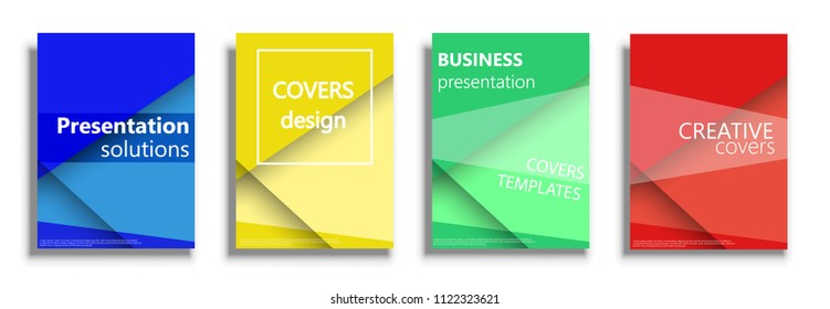 Minimal vector covers illustration set isolated over white background. Geometric patterns backgrounds for business presentations collection. 3D covers