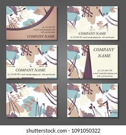 Minimal vector covers set. Artistic painted design set. Abstract pattern background. Eps10. Can be use for journal, composition, cover, book, certificate, card, flyer, visiting cards