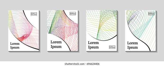 Minimal vector covers set. Future geometric line design set. Galaxy abstract gradient pattern background. Eps10. Can be use for journal, composition, cover, book, certificate, card, flyer