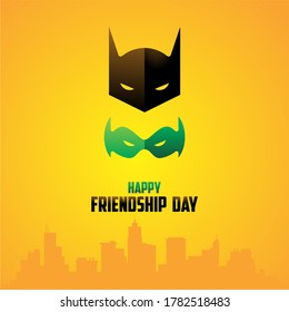 Minimal Vector Design of Friendship Day - two Masks - Batman and Robin