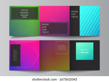 The minimal vector editable layout of square format covers design templates for trifold brochure, flyer, magazine. Abstract geometric pattern with colorful gradient business background.