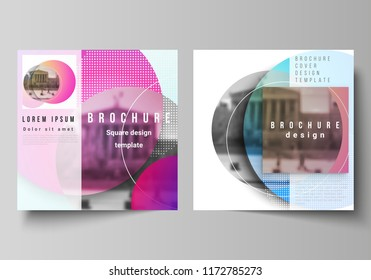 The minimal vector illustration of editable layout of two square format covers design templates for brochure, flyer, magazine. Creative modern bright background with colorful circles and round shapes.