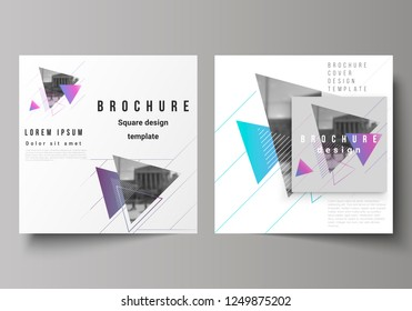 The minimal vector illustration of editable layout of two square format covers design templates for brochure, flyer, magazine. Colorful polygonal background with triangles with modern memphis pattern.