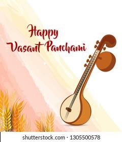 minimal vector illustration for indian festival vasant panchmi with veena for Vasant Panchami.