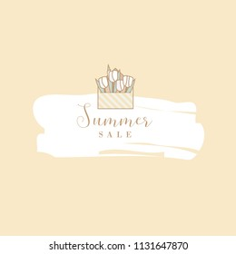 Minimal vector illustration template of a summer sale announcement depicting open pastel colored envelope with white roses