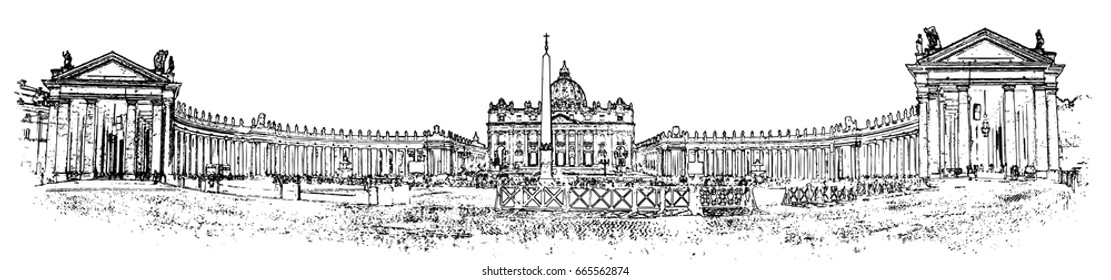 Minimal vector illustration of Vatican with white background.