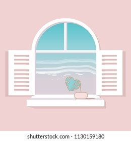 Minimal vector illustration of a white Mediterranean window with Monstera plant leaf looking at the ocean view front