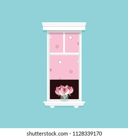 Minimal vector illustration of a white tall window with pink peonies and curtains isolated on blue background wall