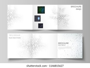 The minimal vector layout of two square format covers design templates for trifold square brochure, flyer. Binary code background. AI, big data, coding or hacker concept, digital technology background