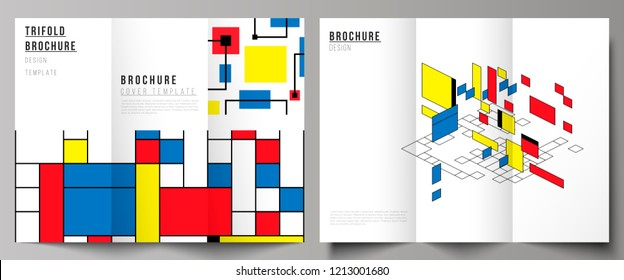 The minimal vector layouts. Modern creative covers design templates for trifold brochure or flyer. Abstract polygonal background, colorful mosaic pattern, retro bauhaus de stijl design.