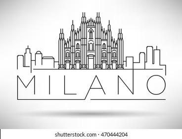 Minimal Vector Milano City Linear Skyline with Typographic Design
