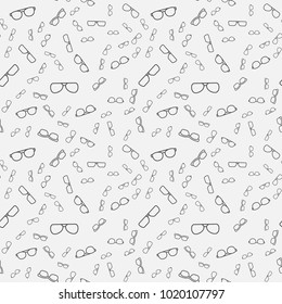 Minimal vector seamless pattern or background made with line glasses and eyeglasses